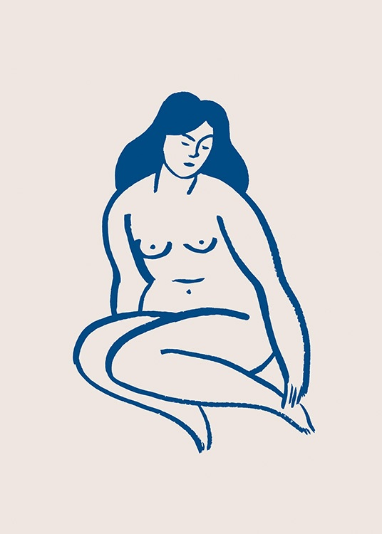 – Graphic illustration in blue and beige of a naked woman sitting down with her knees tucked in underneath her