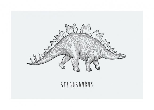 – Illustration of a Stegosaurus dinosaur against a light grey background