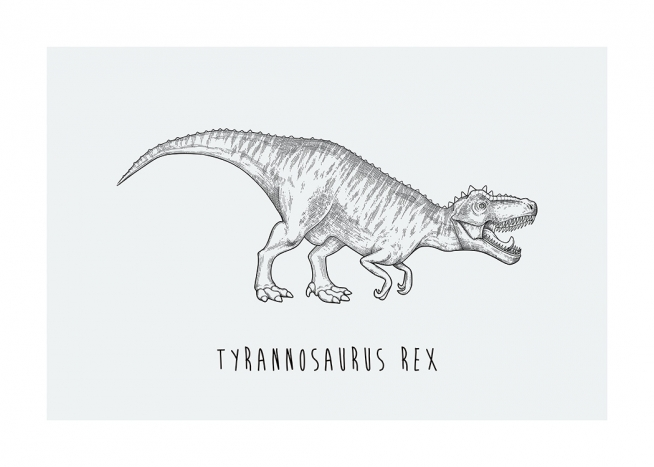 – Illustration of the dinosaur Tyrannosaurus Rex on a background in light grey