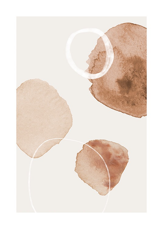 – Illustration with aquarelle circles in white, beige and light brown on a light beige background