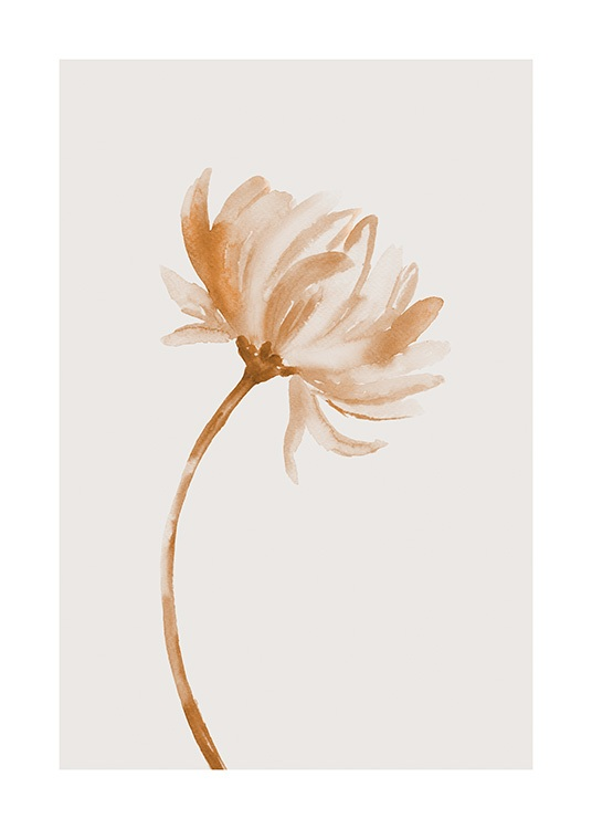 – Painting in watercolor of a flower in beige and brown, on a light beige background