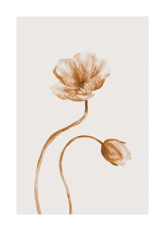 – Two flowers in brown and beige painted in watercolor, on a light beige background