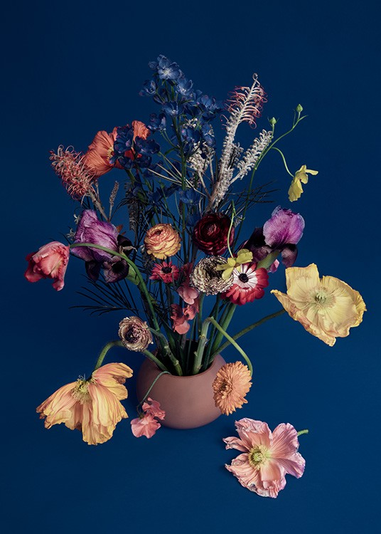 – Photograph of a bouquet with colorful flowers in a vase against a dark blue background
