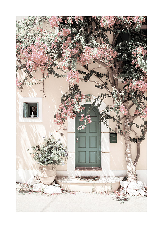 – Photograph of a house with a green door and a pink tree in front of it