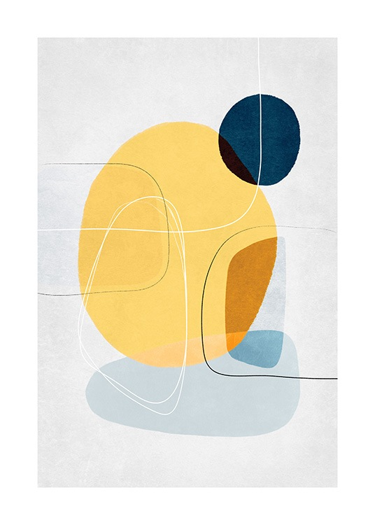 – Graphic illustration with black and white lines on blue and yellow circles