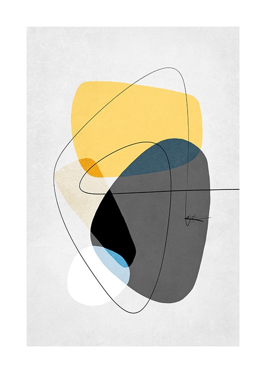 – Graphic illustration with abstract shapes in grey and yellow, on a light grey background