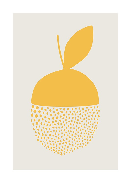 – Graphic illustration of a dotted lemon on a light grey background