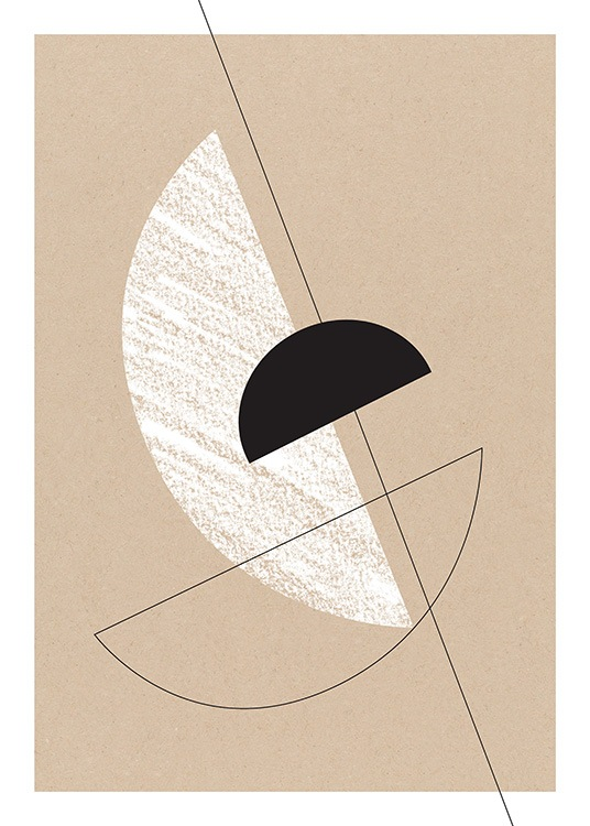 – Graphic illustration with black and white semi circles on a brown background with cardboard texture