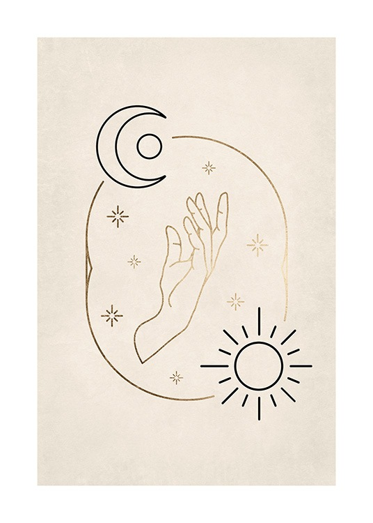 – Illustration with a black moon and sun surrounding a golden hand and golden stars