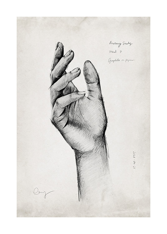 – Hand-drawn pencil sketch of an elegant hand, with small text around it on a beige background