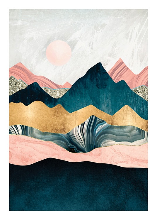 – Graphic illustration of pink, blue and gold mountain peaks with a pink sun in the background