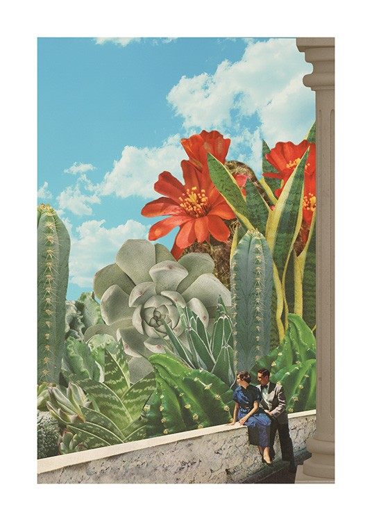– Art print with large cacti and red flowers behind two people, with a blue sky in the background