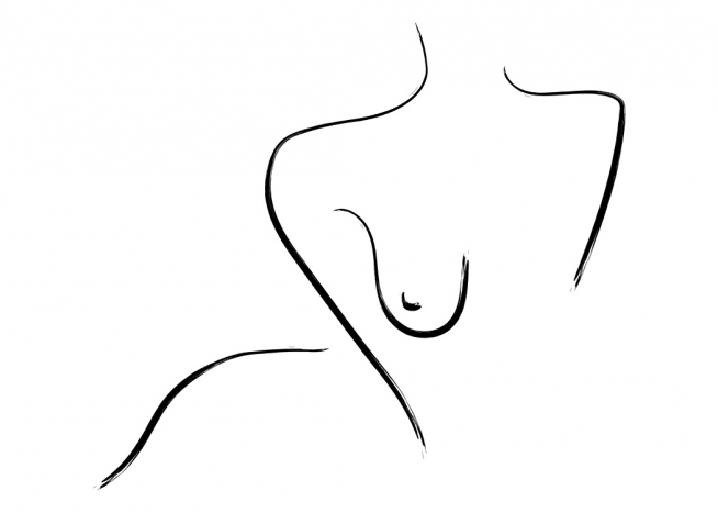 – Drawing of a naked body in line art, with black lines on a white background