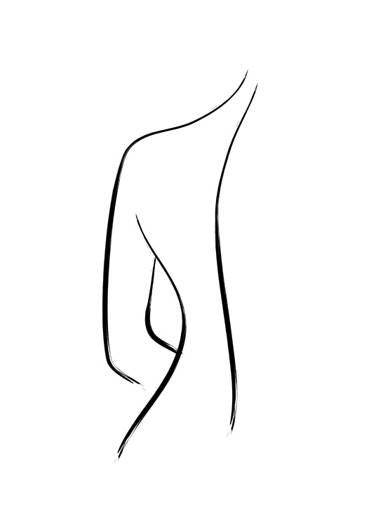 – Illustration of a naked back drawn in line art, in black on a white background