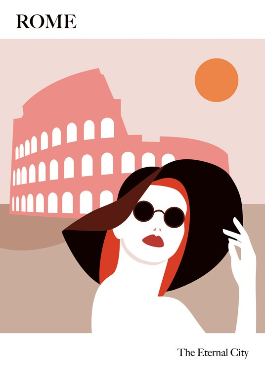 – Graphic illustration of the Colosseum in pink behind a woman wearing a large hat