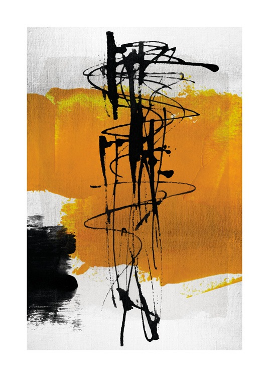 – Black and yellow abstract shapes and swirls on a light grey background