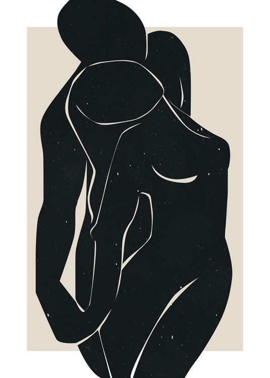 – Graphic illustration of a pair of naked bodies in black, with small white spots on them, against a beige background