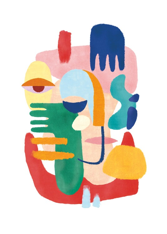 – Painting with an abstract figure made of colorful hands, eyes and facial features, against a white background