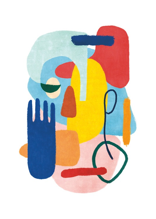 – Abstract painting with colorful shapes, eyes and a hand, on a white background
