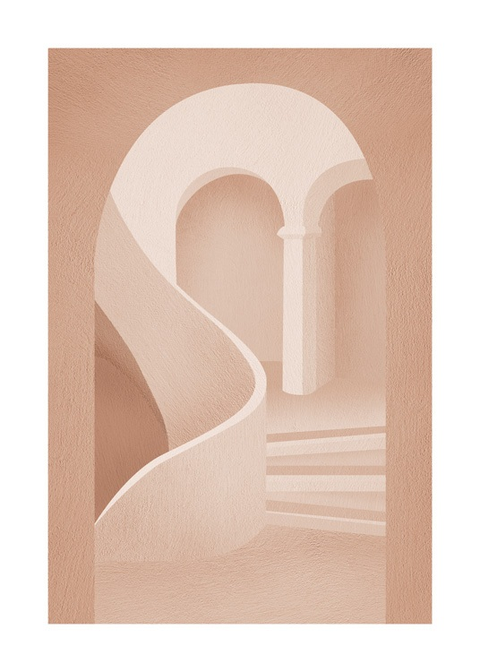 – Graphic illustration of a staircase in a pink building with arches in the background and foreground