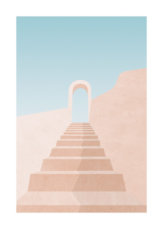 – Graphic illustration of a pink staircase leading up to an arch, with a blue sky in the background