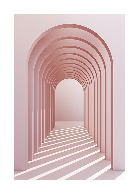 – Photograph of pink arches in a passage, with sunlight shining in on the floor