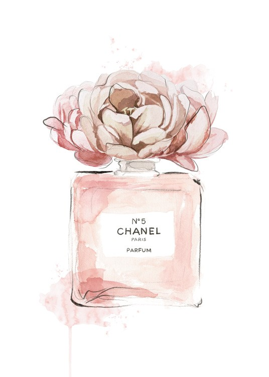 – Painting in watercolor of a perfume bottle in pink with a pink flower on top of it