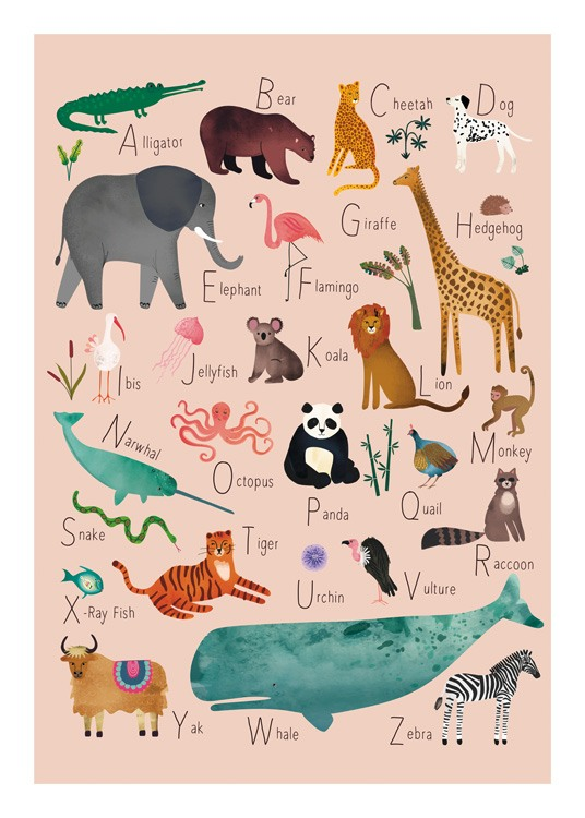 – Illustration with animals with names that start on each letter of the alphabet