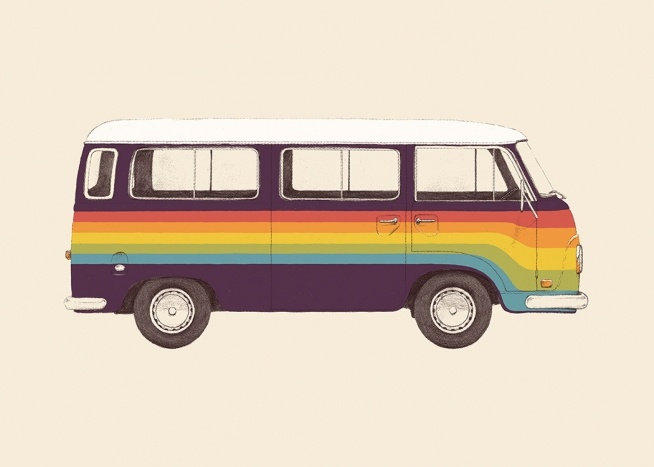 – Illustration of a colorful van in purple with stripes painted in red, orange, yellow, green and blue across it