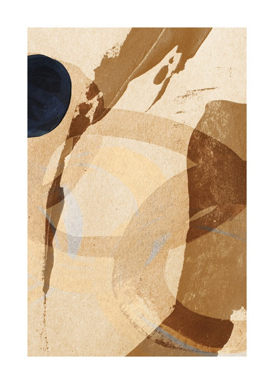 – Painting with abstract brush strokes in brown and beige on a beige background