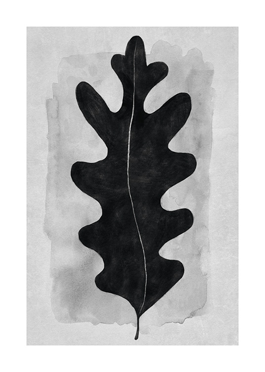 – Illustration of a black leaf in watercolor against a grey background with watercolor structure
