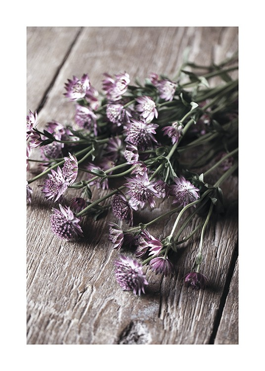 – Photograph of small, purple flowers with green leaves in a bundle, laying on a wooden table