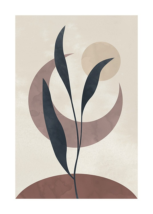 – Graphic illustration with a branch with leaves in grey and brown shapes behind it, on a beige background