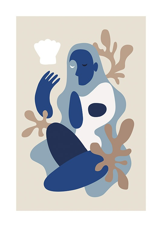 – Graphic illustration of an abstract body in white and blue color blocks against a beige background