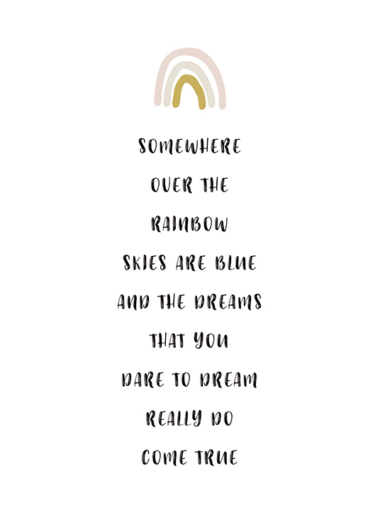 – Text poster with a quote about dreams and a rainbow at the top