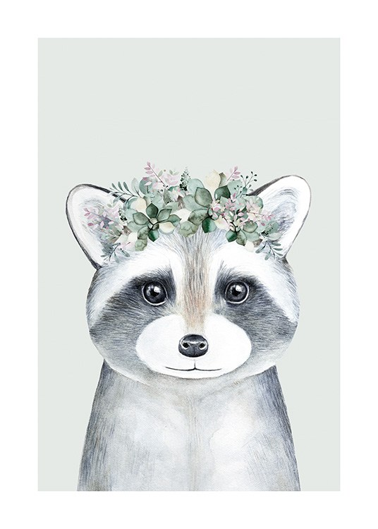 – Illustration of a grey baby raccoon wearing a flower crown, against a light green background