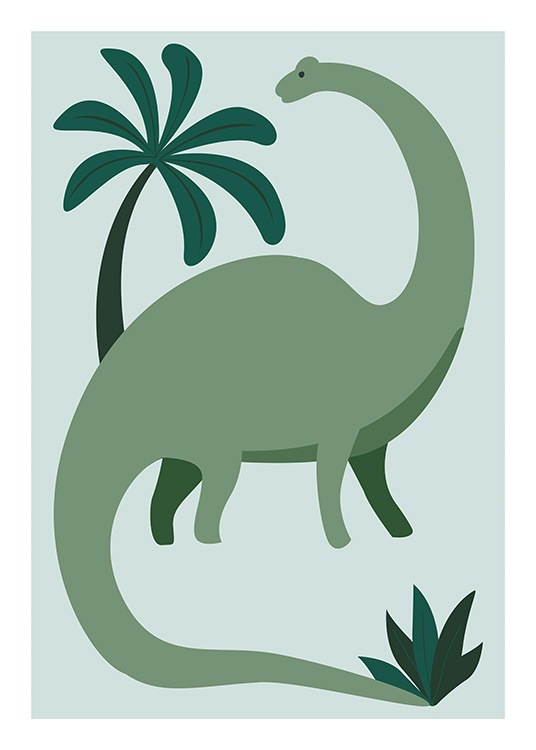 – Graphic illustration of a dinosaur in green, with a palm tree behind it on a light blue background