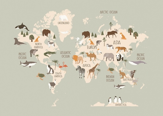 – Graphic illustration of animals on a beige world map against a grey background