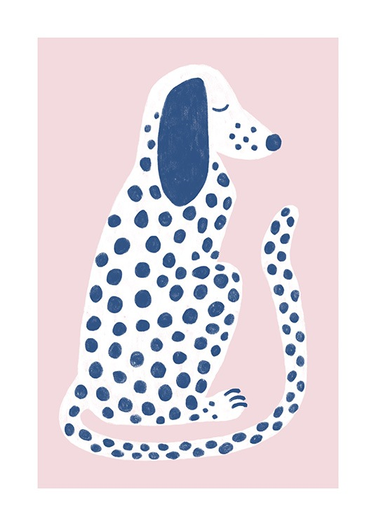 – Graphic illustration of a spotted dog in white with blue spots against a pink background