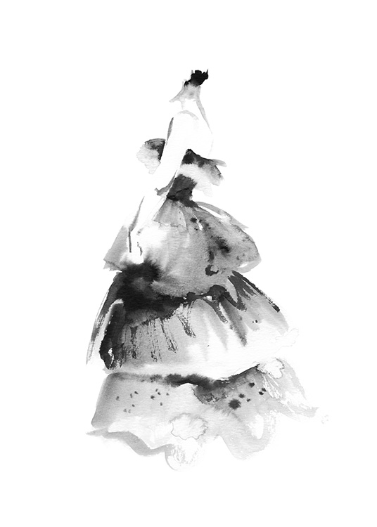 – Painting in watercolor of a ruffled, large dress in black on a white background