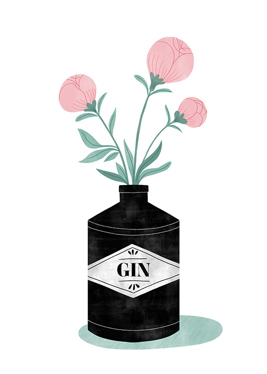 – Illustration of a black gin bottle with three pink flowers in it