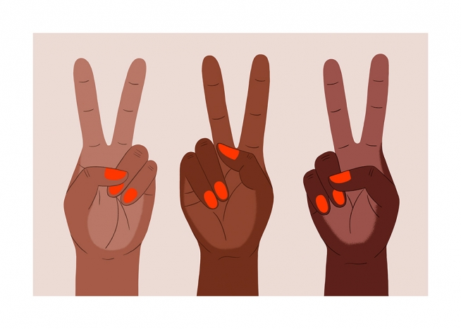 – Graphic illustrations of hands with red painted nails doing the peace sign, on a light pink background