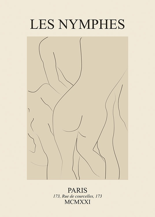– Illustration in line art with naked bodies on a beige background, with text at the top and bottom