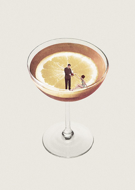 – Graphic illustration of a lemon in a cocktail glass, with a man and woman on the edge of the glass