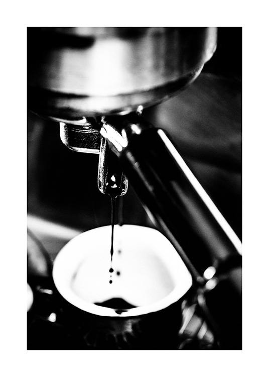 – Black and white photograph with close up of an espresso machine making coffee
