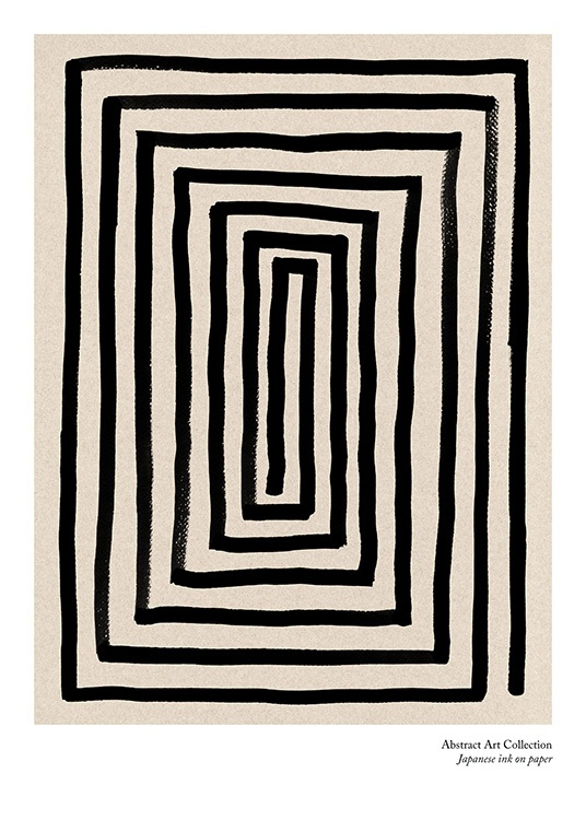 – Illustration of a maze formed by a black, thick line, on a beige background with text underneath