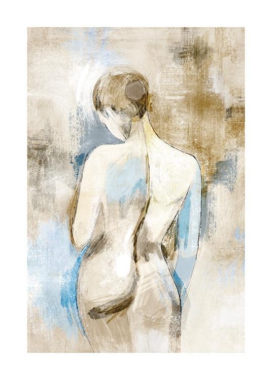 – Painting of a nude woman seen from behind, on a blue and beige background