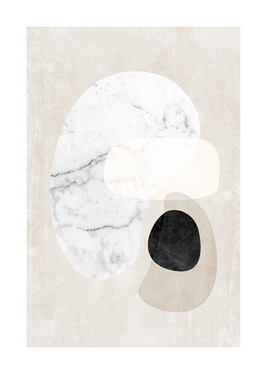 – Graphic illustration with abstract marble shapes in white, black and beige on a beige background