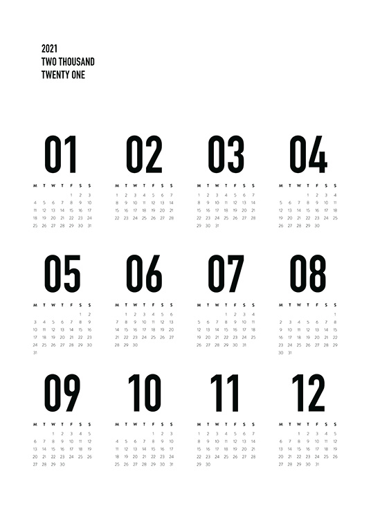 – Black and white calendar with monthly view of 2024