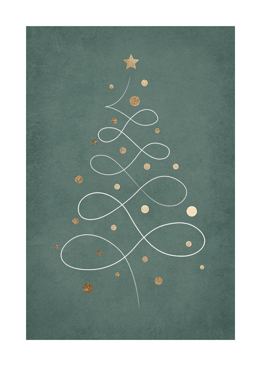 – Illustration of a Christmas tree in line art with gold ornaments on a green background